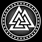 Valknut ancient pagan Nordic Germanic symbol. Isolated on black, vector illustration Royalty Free Stock Photography