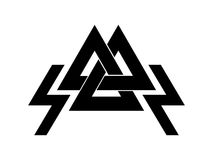 Valknut is a symbol of the world's end of the tree Yggdrasil. Sign of the god Odin. Royalty Free Stock Photos