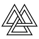 Valknut  Viking Age symbol, geometric design element Norse warrior culture. Vector Triangle logo community Royalty Free Stock Photography