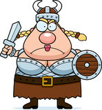Valkyrie Angry. A cartoon Viking Valkyrie with an angry expression Stock Photography