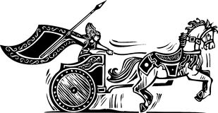 Valkyrie Chariot. Woodcut style image of a Norse viking Valkyrie riding a chariot Stock Photography