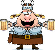 Valkyrie Drunk. A happy cartoon Viking Valkyrie drunk and smiling Stock Images
