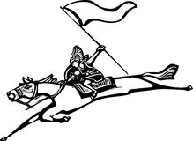 Valkyrie with Flag. Woodcut style image of a Norse Valkyrie riding a horse and holding a flag Royalty Free Stock Image