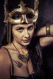 Valkyrie, Golden statue concept. Arty portrait of model with gol Stock Image