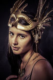 Valkyrie, Golden statue concept. Arty portrait of model with gol Stock Photos
