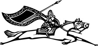 Valkyrie on Horse. Woodcut style image of a Norse Valkyrie riding a horse waving a spear Stock Image