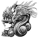 Valkyrie in the Shell. Beautiful girl warrior in armor knight Royalty Free Stock Photo