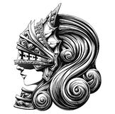 Valkyrie in the Shell. Beautiful girl warrior in armor knight Stock Images