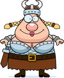 Valkyrie Smiling. A happy cartoon Viking Valkyrie standing and smiling Royalty Free Stock Images