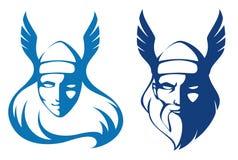 Valkyrie und der alte Gott Odin Stockfotos