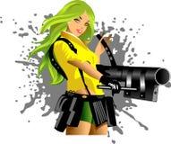 Valkyrie. Vector illustration of a beautiful woman holding a gun Stock Photos