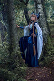 Valkyrie warrioress in magpie costume. stock image