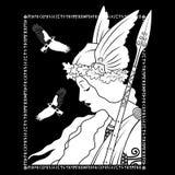 Valkyrie y dos cuervo, ejemplo a la mitología escandinava, dibujada en el estilo de Art Nouveau fotos de archivo