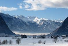 Vallée alpine d'hiver photo libre de droits