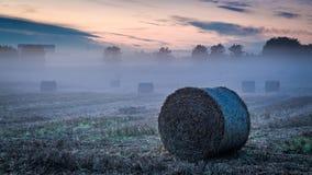 Vallée brumeuse en automne avec le foin sur le champ à l'aube image libre de droits