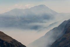 Vallée brumeuse en parc national du passage d'Arthur Photos libres de droits