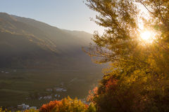 Vallée d'automne à la lumière du soleil chaude de soirée Photos libres de droits