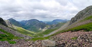 Vallée d'Ennerdale vue de l'espace venteux, secteur de lac Photographie stock libre de droits