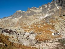 Vallée de cinq lacs Spis tatra de la Slovaquie de hautes montagnes photographie stock