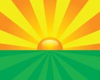 Vallée de coucher du soleil. Vecteur illustration stock