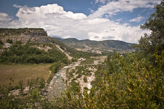 Vallée de la rivière Puebla de Roda, Espagne d'Isabena Photos libres de droits