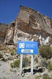 Vallée de montagne connue pour les peintures de caverne antiques avec des images des animaux Image stock