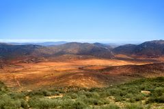 Vallée de montagne de panorama de paysage, montagnes de Drakensberg, voyage sauvage de l'Afrique du Sud photos libres de droits