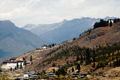 Vallée de Paro près d'aéroport - Bhutan Photographie stock