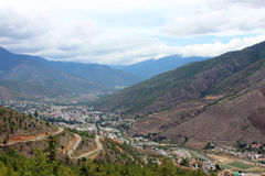 Vallée de Thimphou au Bhutan Photo stock