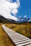 Vallée de verre avec les Alpes méridionaux NZ de cuisinier d'Aoraki Mt photos stock