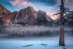Vallée de Yosemite avec le brouillard et la neige de matin Photos stock