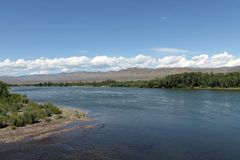 Vallée du fleuve Ienisseï, Sibérie du sud République de la Touva Autumn Landscape Image stock