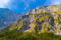 Vallée en montagnes d'Alpes près de Koenigssee, Konigsee, parc national de Berchtesgaden, Bavière, Allemagne images libres de droits
