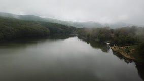 Vallée et forêt brumeuses de lac banque de vidéos
