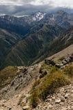 Vallée glaciaire dans des chaînes de Kaikoura Photographie stock