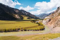 Vallée incroyable de paysage des montagnes d'Altai avec des arbres, des collines et la rivière Photo stock