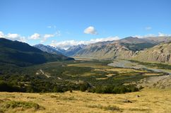 Vallée Patagonian de forêt dans un jour ensoleillé Image libre de droits
