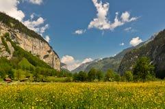 Vallée suisse d'Alpes, paysage scénique Image libre de droits