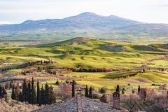 Vallée toscane avec les champs accidentés verts dans le coucher du soleil photo stock