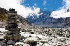 Vallée W Aoraki, cuisinier de Mt, Alpes méridionaux, NZ de verre images libres de droits