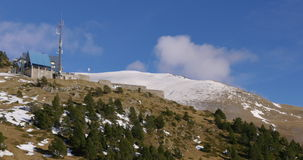 Vall de nuria cloudy mountain ski base 4k spain. Vall de nuria cloudy mountain ski base 4k stock footage