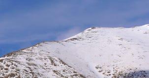Vall de nuria mountain snow top 4k spain. Spain vall de nuria mountain snow top 4k stock video