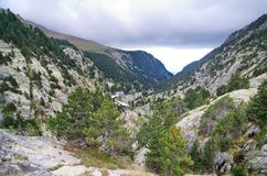 Vall de Nuria  in the Pyrenees Mountains in Catalonia, Spain Royalty Free Stock Photo