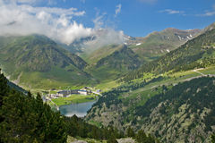 Vall de Nuria Sanctuary, pyrenees, Spain. Vall de Nuria Sanctuary in the catalan pyrennes, Spain Royalty Free Stock Photo