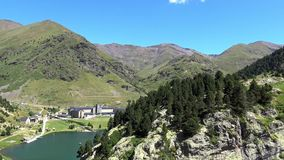 Vall de Nuria, valley in the mountain Pyrenees of Spain stock footage