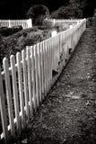 Valla de estacas blanca de madera antigua y jardín viejo Fotos de archivo