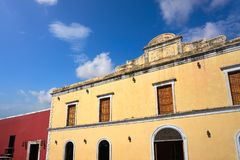 Valladolid city of Yucatan Mexico. Valladolid city colorful facades Yucatan in Mexico Royalty Free Stock Image