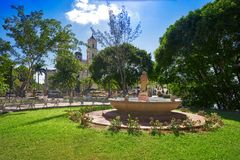 Valladolid city of Yucatan Mexico. Valladolid city park fountain of Yucatan in Mexico Royalty Free Stock Images