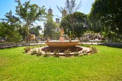 Valladolid city of Yucatan Mexico. Valladolid city park fountain of Yucatan in Mexico Stock Image
