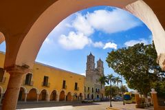 Valladolid city of Yucatan Mexico. Valladolid San Gervasio church arcs of Yucatan in Mexico Royalty Free Stock Photo